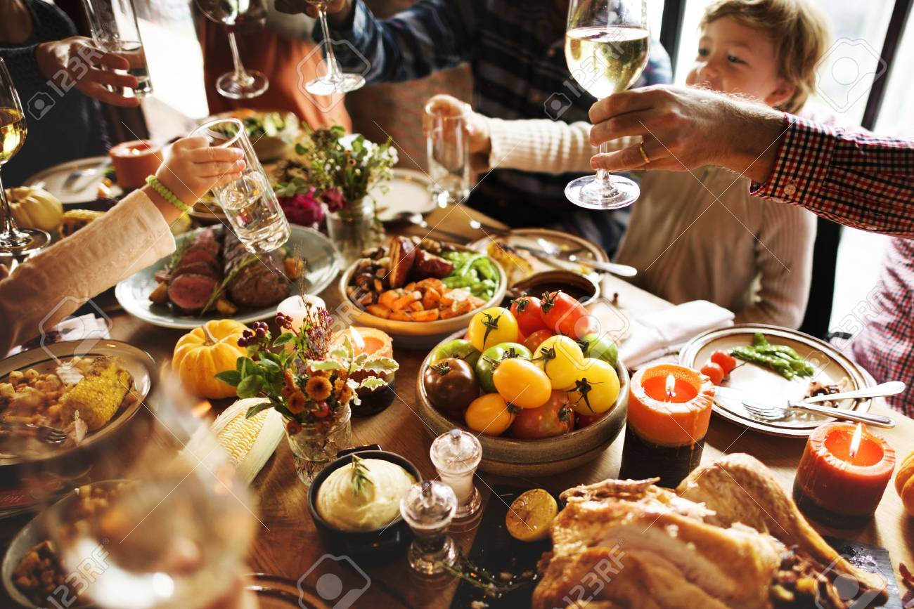 People Cheers Celebrating Thanksgiving Holiday Concept Standard-Bild - 64077975