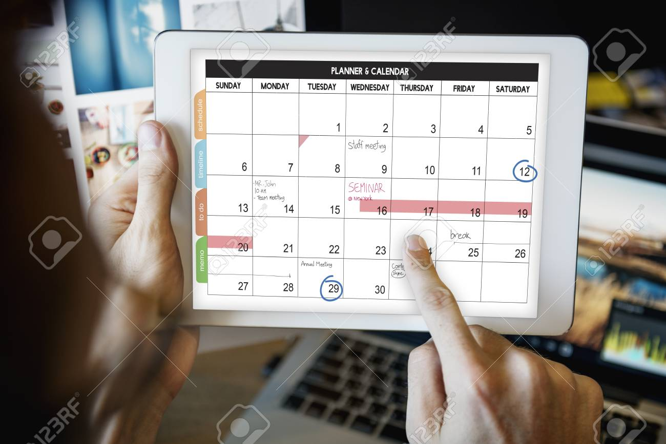 weekly planner schedule memo timeline concept stock photo picture