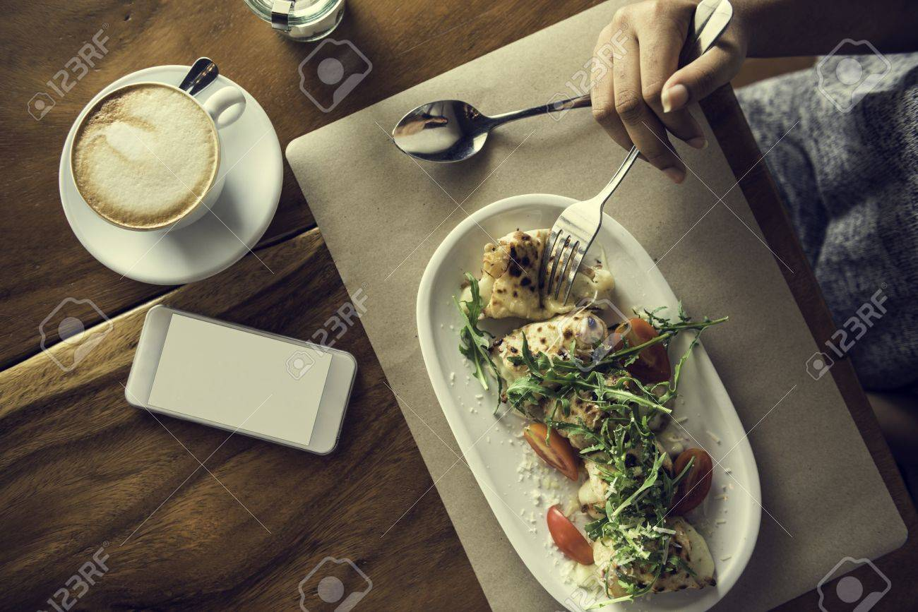 Food Catering Eating Mobile Phone Cafe Restaurant Concept Stock Photo Picture And Royalty Free Image Image 65165929