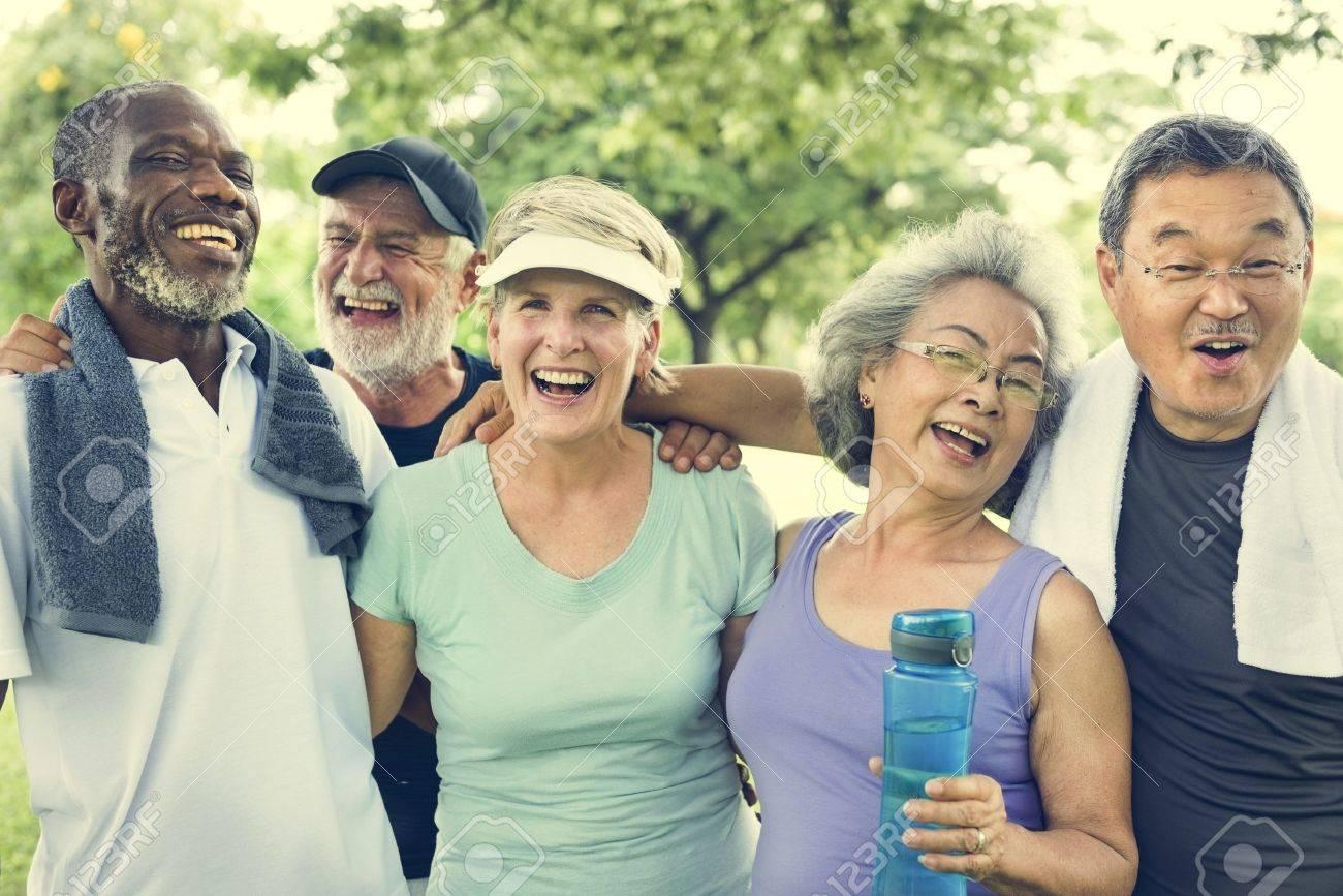 Senior Group Friends Exercise Relax Concept Standard-Bild - 65166208