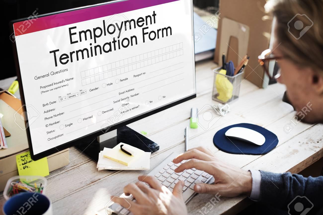 Beschäftigung Kündigung Formular Dokumentenkonzept Lizenzfreie Fotos