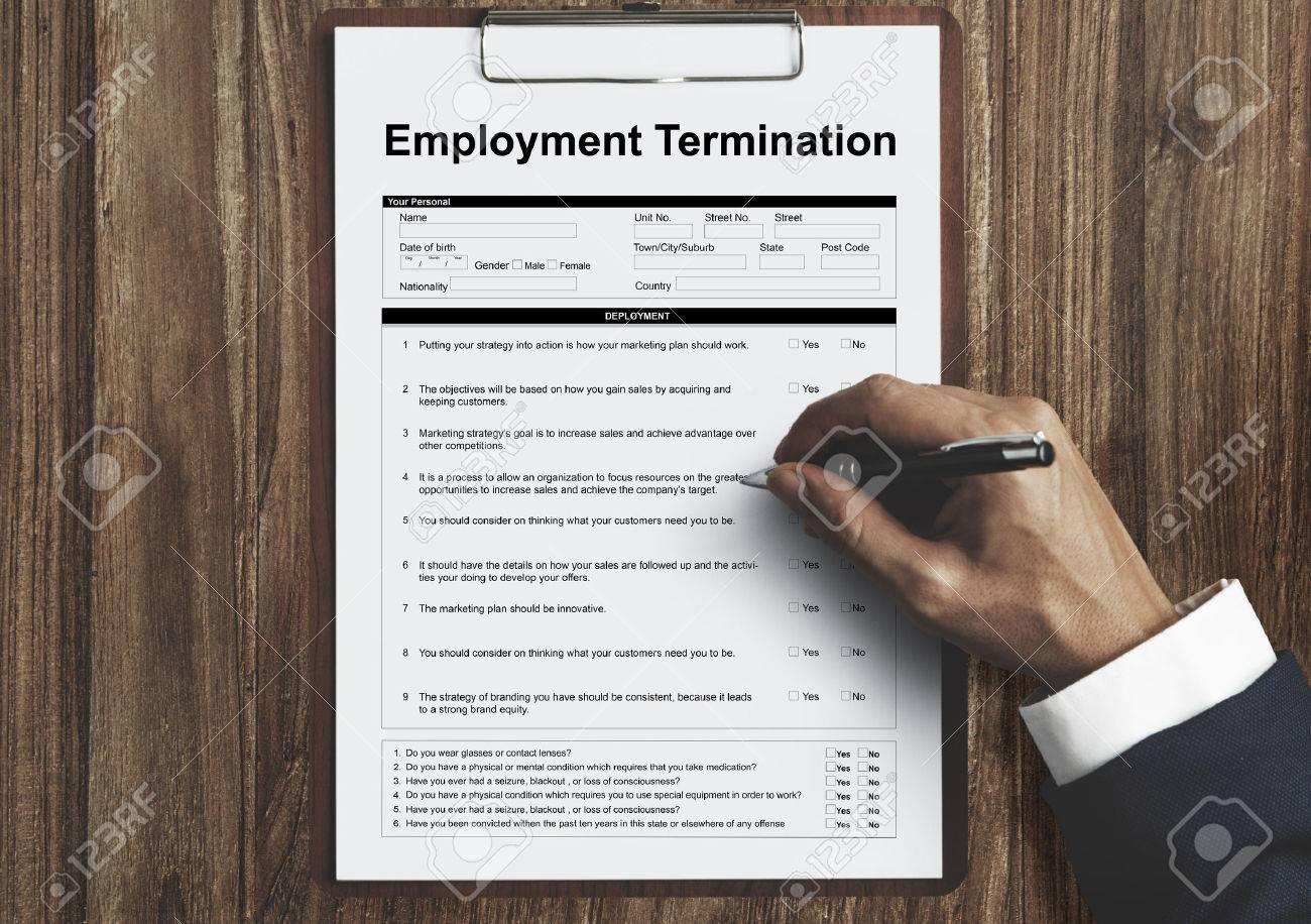Beschäftigung Kündigung Formular Seite Grafik Konzept Lizenzfreie