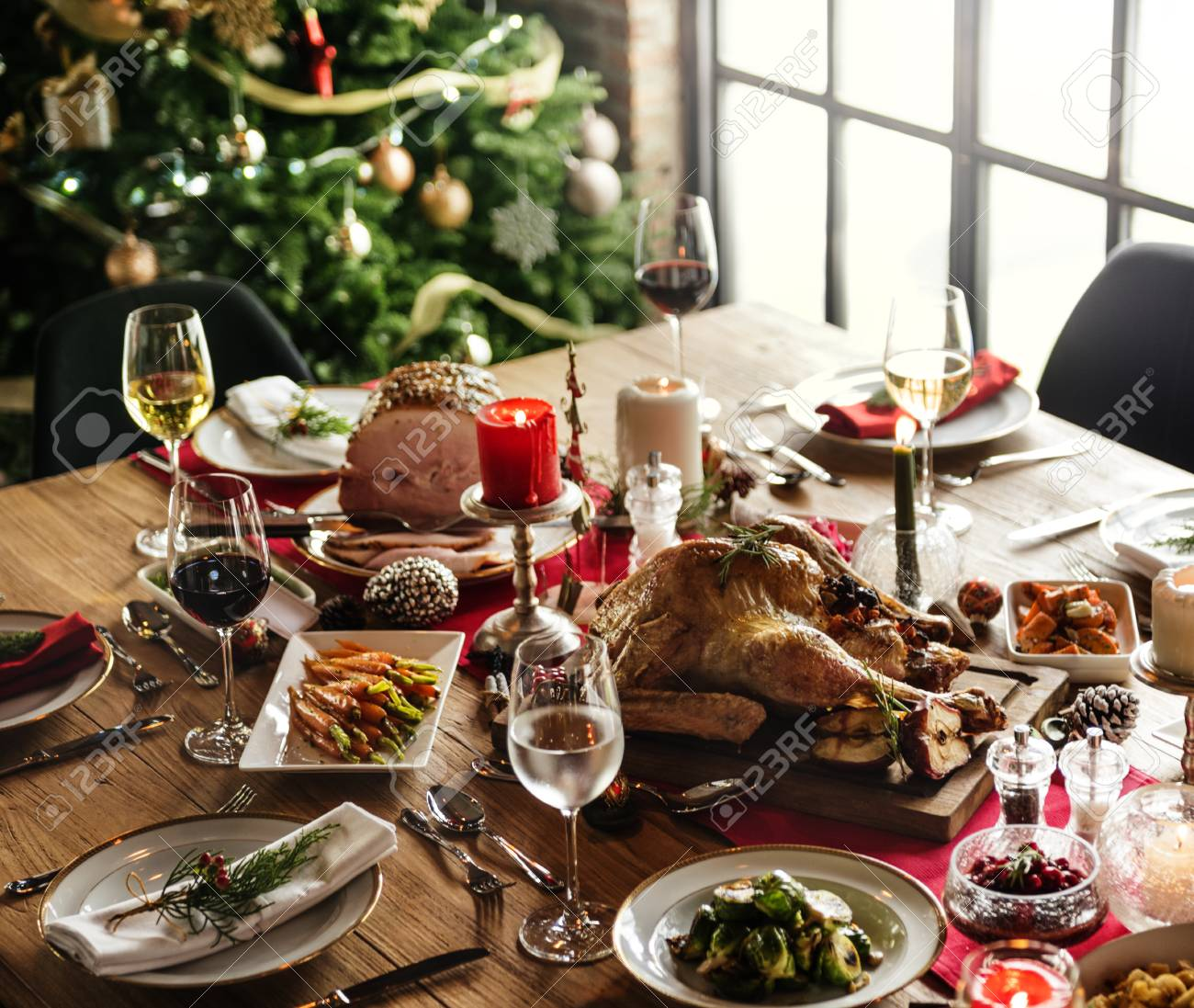 Christmas Family Dinner Table Concept Stock Photo Picture And