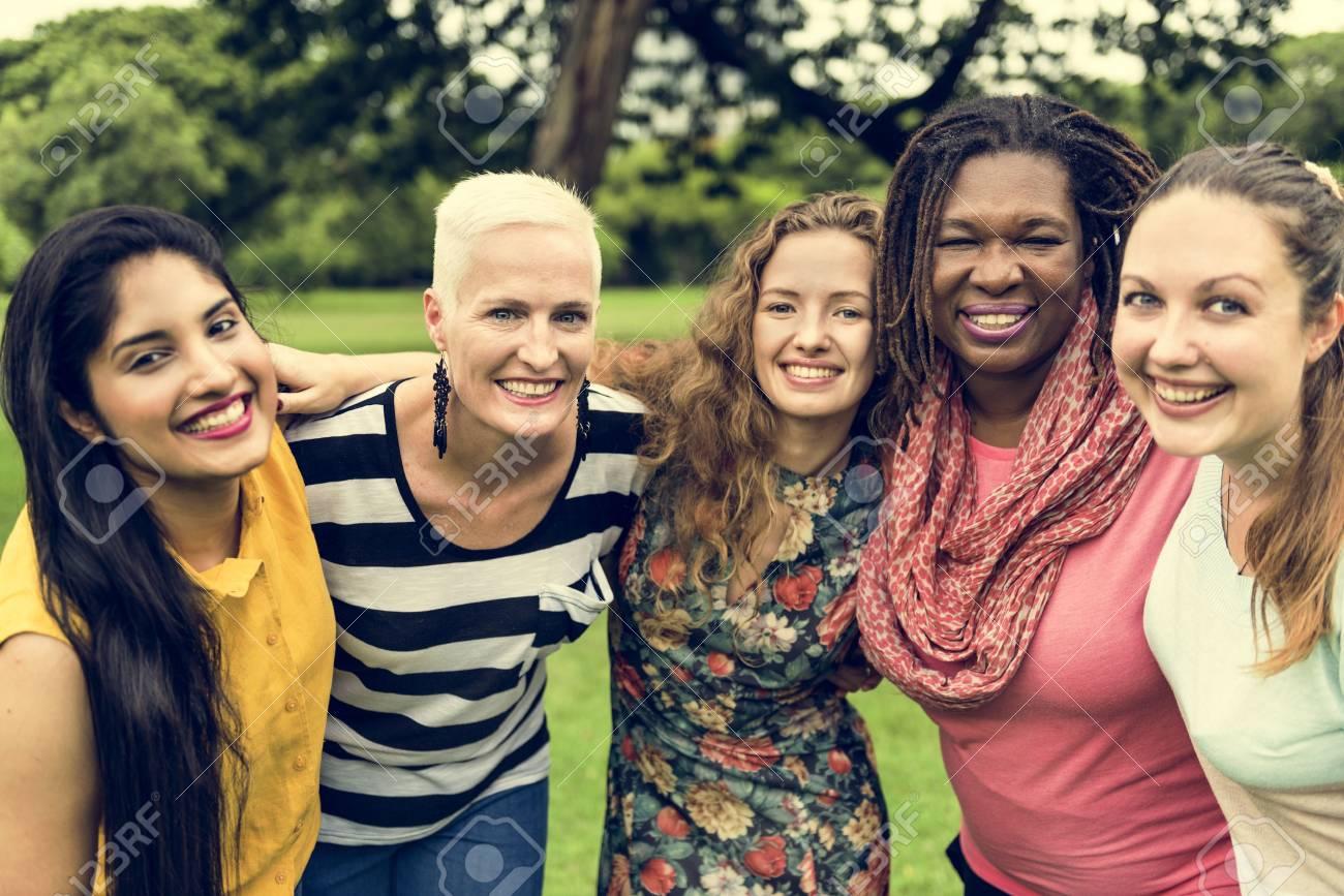Group of Women Socialize Teamwork Happiness Concept Standard-Bild - 65479036