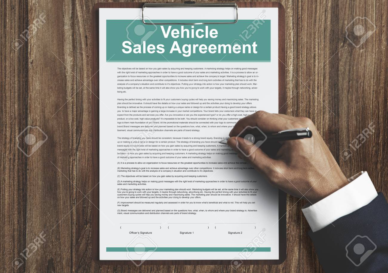 Vehicle Sales Agreement Insurance Concept Stock Photo, Picture And ...
