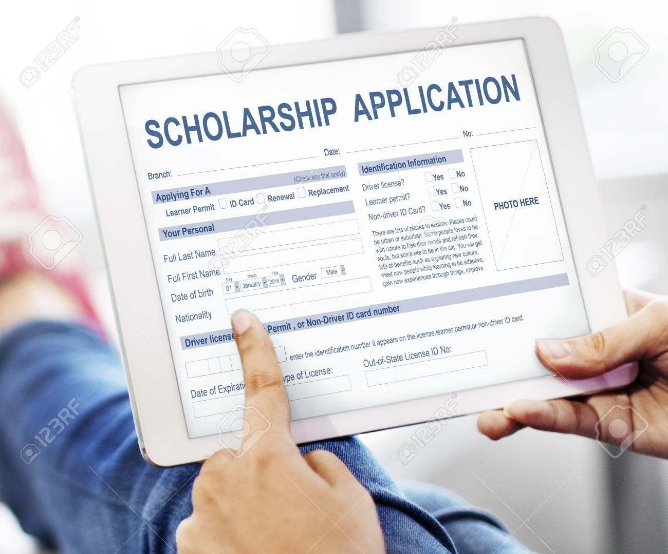 scholarship application form foundation concept stock photo picture