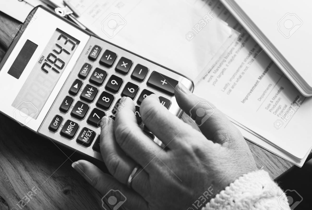 calculator calculate balance costs income budget concept stock photo