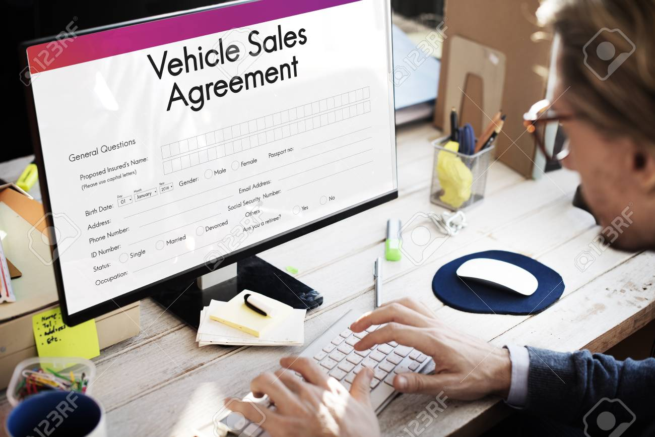 vehicle sales agreement form concept stock photo picture and