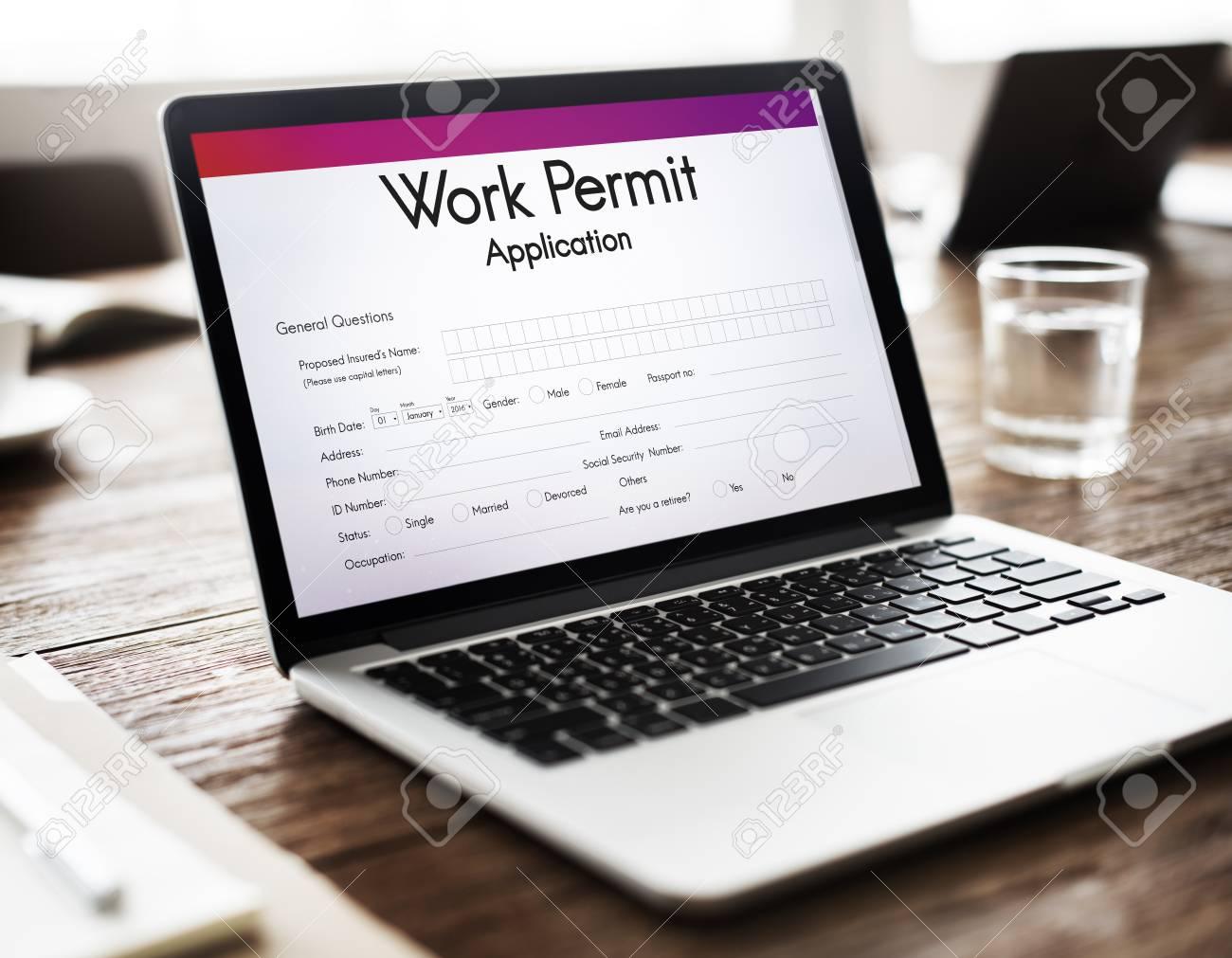 work permit application job employment concept stock photo picture