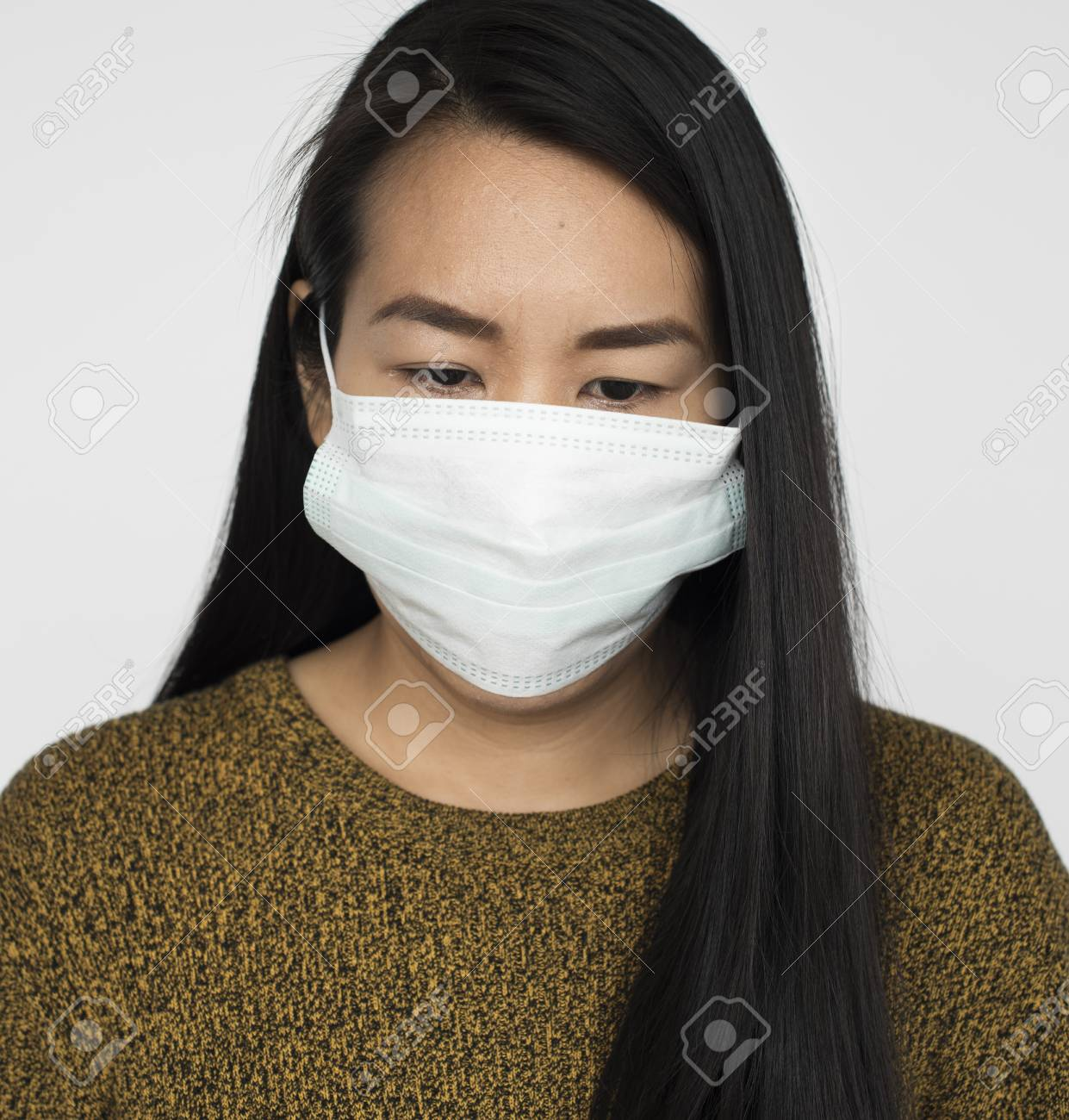Concept Fever Protective Mask Woman Sickness
