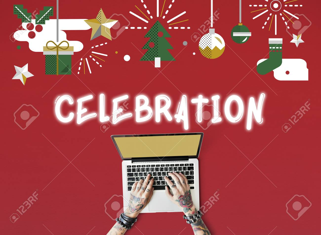 merry x'mas christmas celebration concept stock photo, picture and