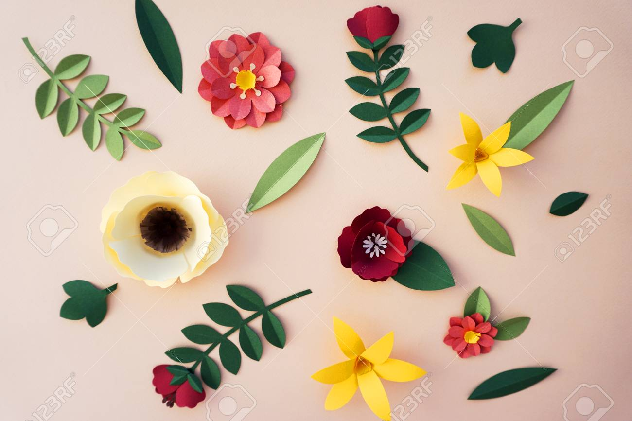 Flowers Handmade Design Papercraft Art Stock Photo Picture And
