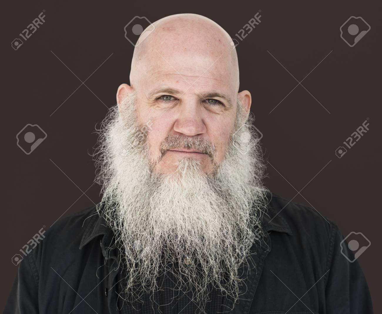 Männer Erwachsener Langer Bart Bald Head Nachdenklich Lizenzfreie
