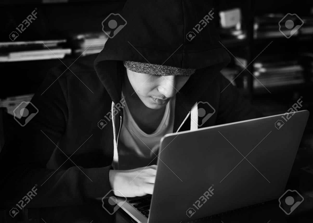 ba2cc1cfae6d6 Young Asian Boy Wearing Hoodie Using Digital Laptop Stock Photo ...