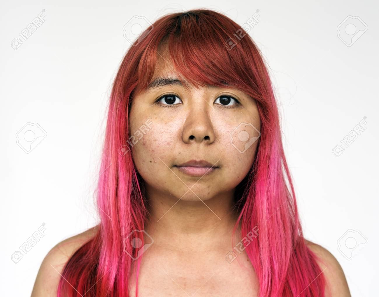 Portrait Of Young Woman Asian Red Hair Stock Photo Picture And