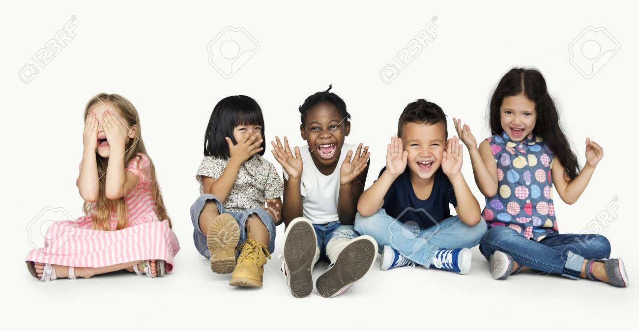 Diverse Group Of Kids Playing Together and Cover Face - 78865516