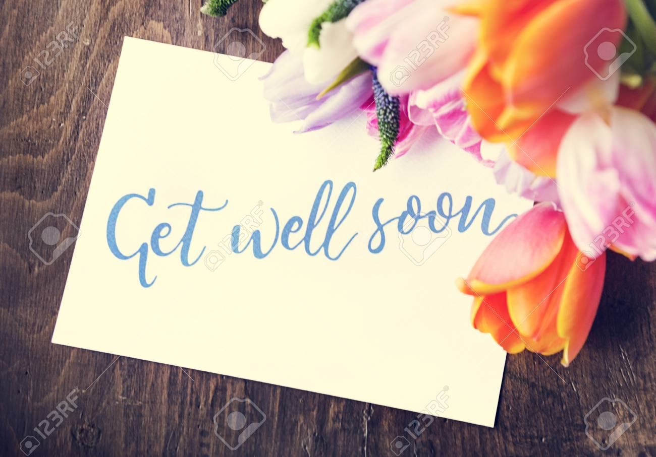 Tulips Flowers Bouquet With Get Well Soon Wishing Card Stock Photo Picture And Royalty Free Image Image 79797214
