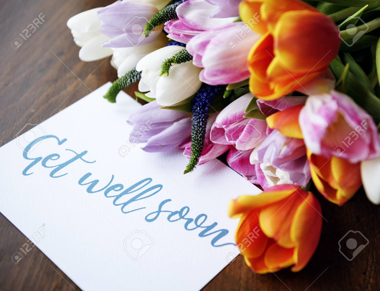 Tulips Flowers Bouquet With Get Well Soon Wishing Card Stock Photo Picture And Royalty Free Image Image 79641036