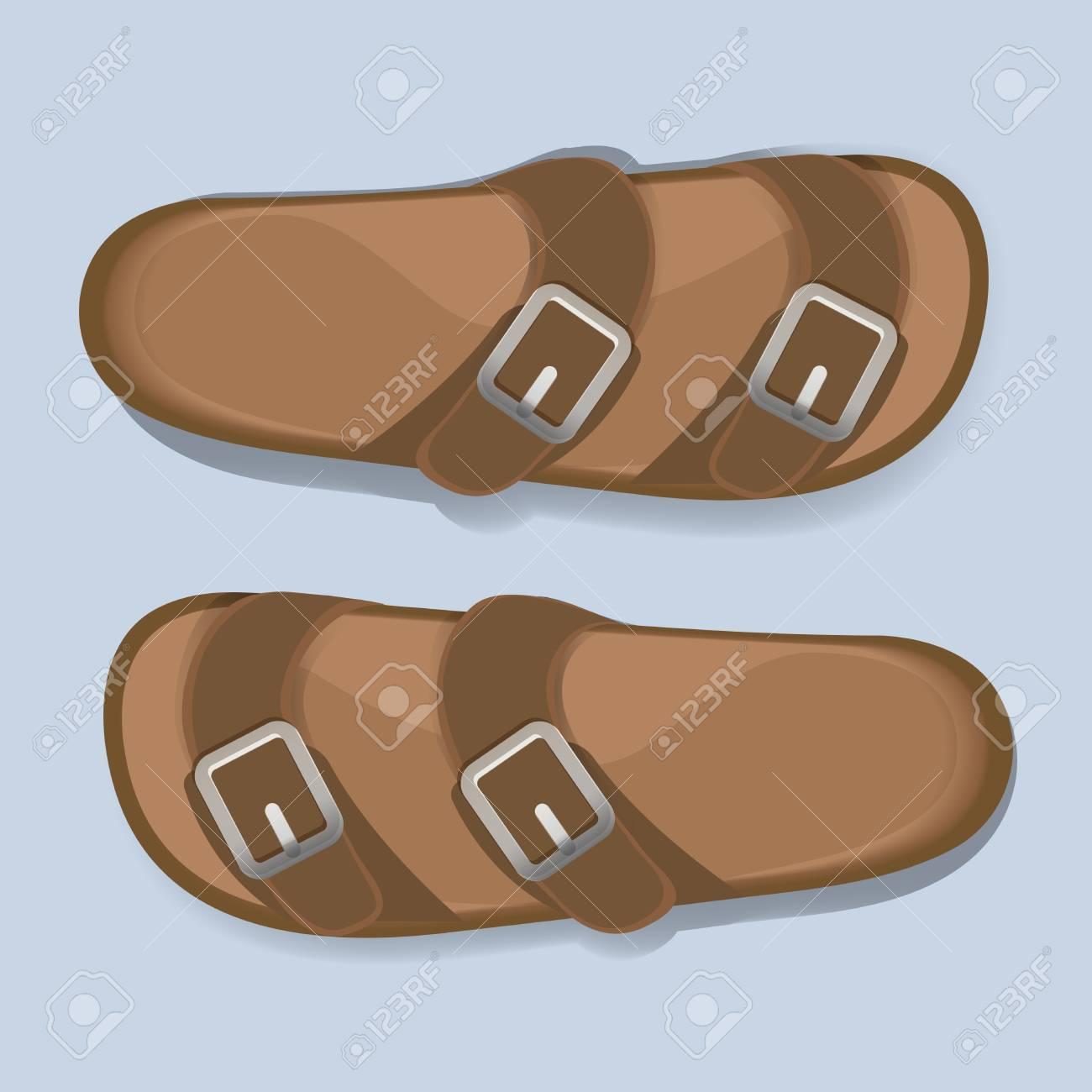 Zapatos De Sandalias Casuales Hombre Marrón Flip Flop Ilustraciones ...