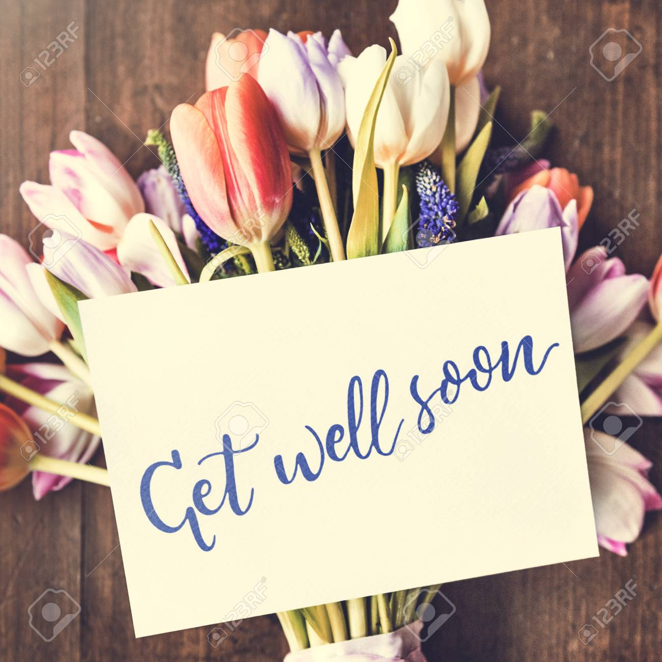 Tulips Flowers Bouquet With Get Well Soon Wishing Card Stock Photo Picture And Royalty Free Image Image 79906447