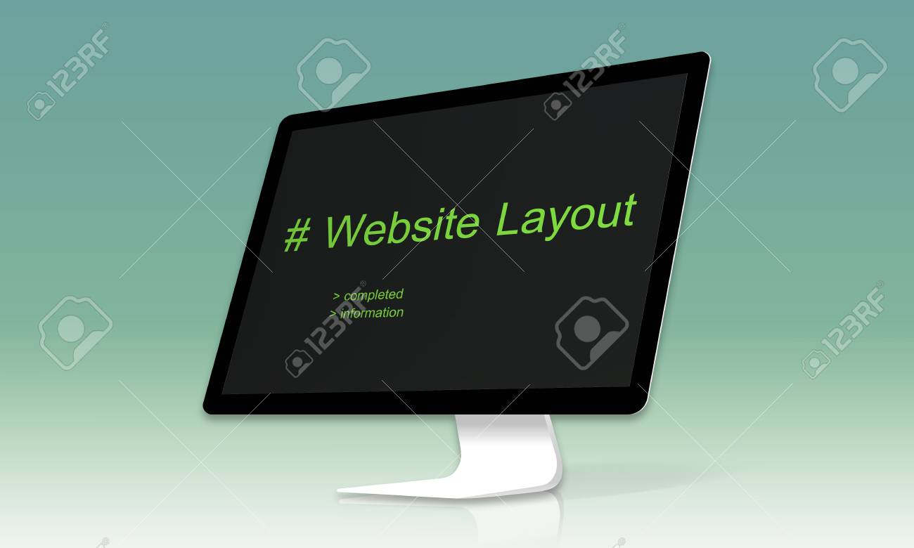 cmputer screen show about web template layout word stock photo