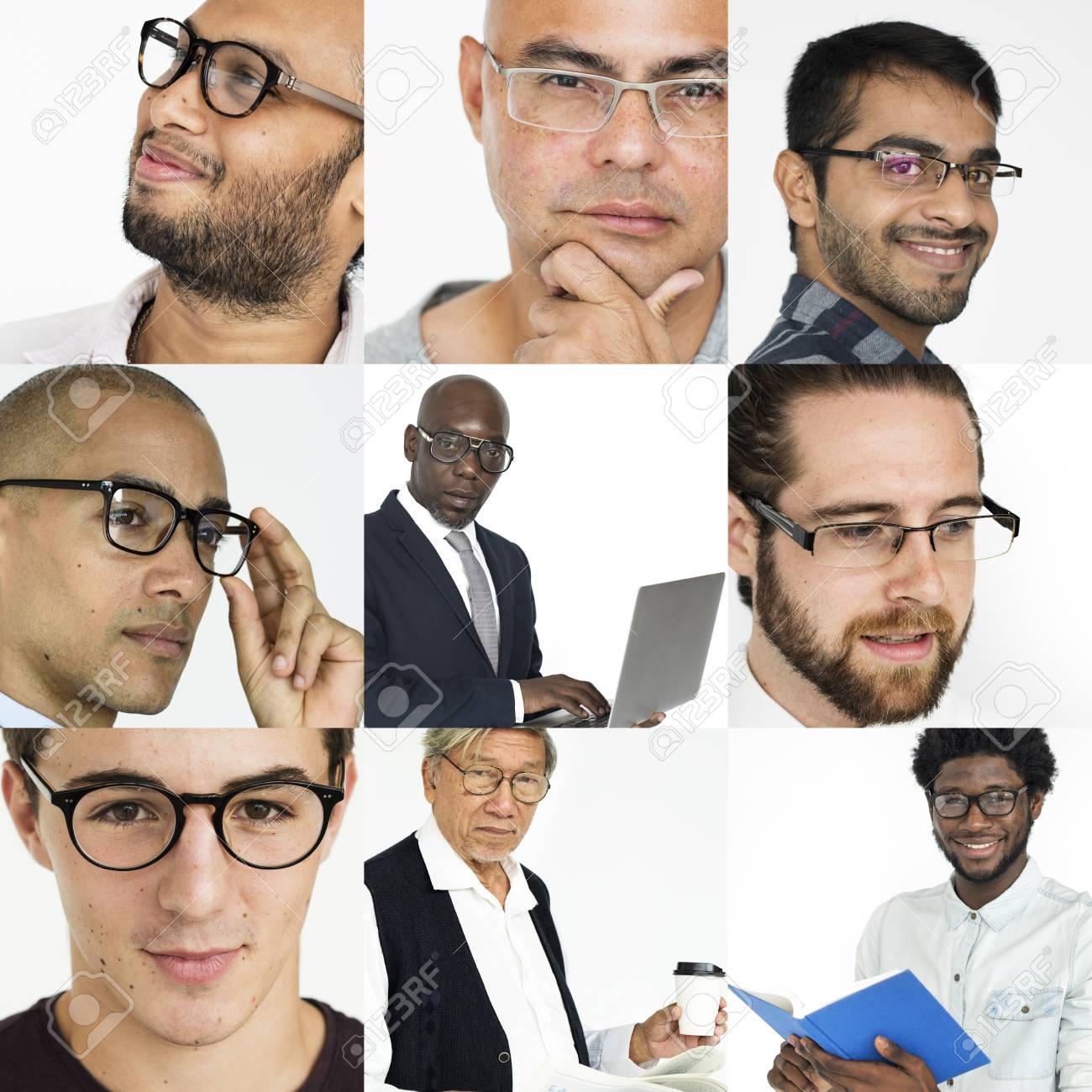 Leute-Satz Verschiedene Männer, Die Brillen-Studio-Collage Tragen ...