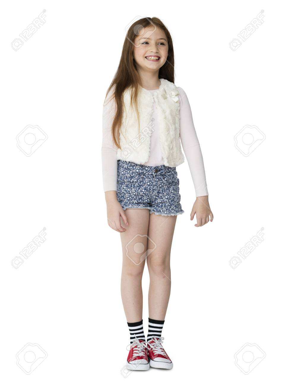 Stock photo young girl cheerful smile full body portrait
