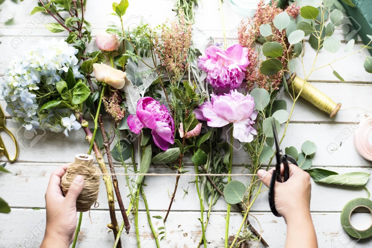 Florist Making Fresh Flowers Bouquet Arrangement Stock Photo
