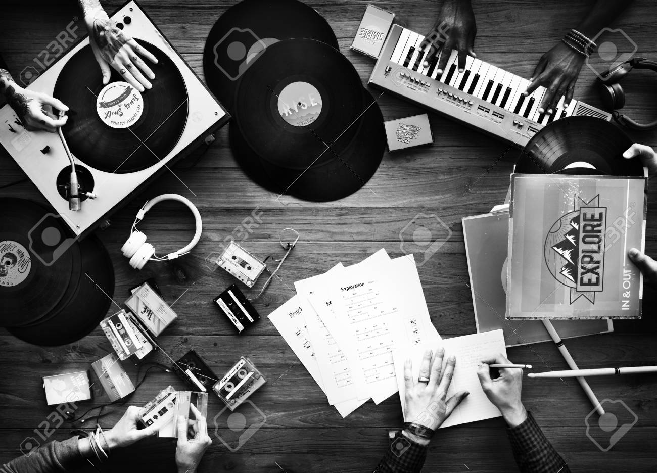 Group Of DJ Mixing The Classic Oldschool Music Vinyl Record Stock ...