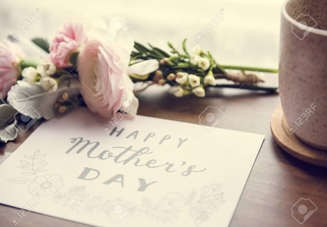 Ranunculus Flowers Bouquet With Happy Mothers Day Wishing Card Stock ...