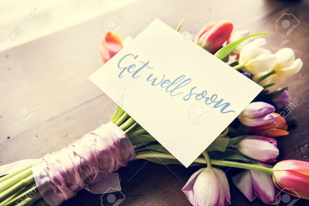 Tulips Flowers Bouquet With Get Well Soon Wishing Card Stock Photo ...