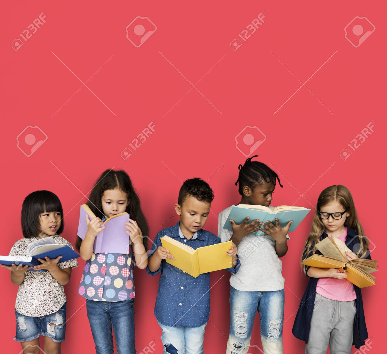 Diverse Group Of Kids Study Read Book - 81724263