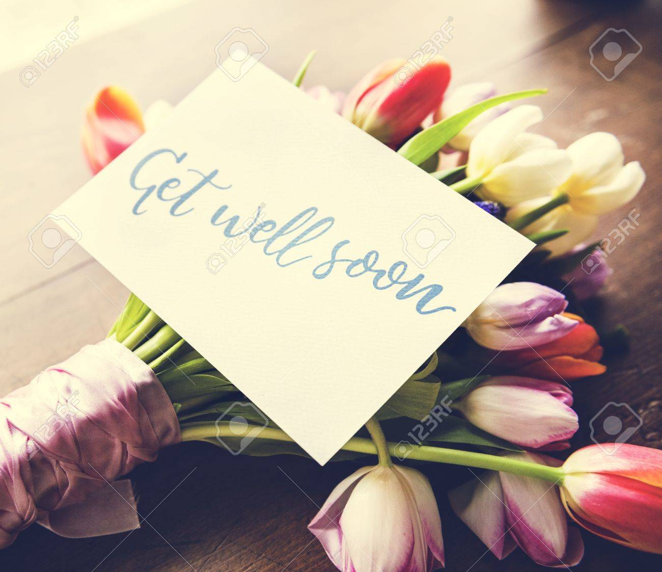 Tulips Flowers Bouquet With Get Well Soon Wishing Card Stock Photo Picture And Royalty Free Image Image 82261487