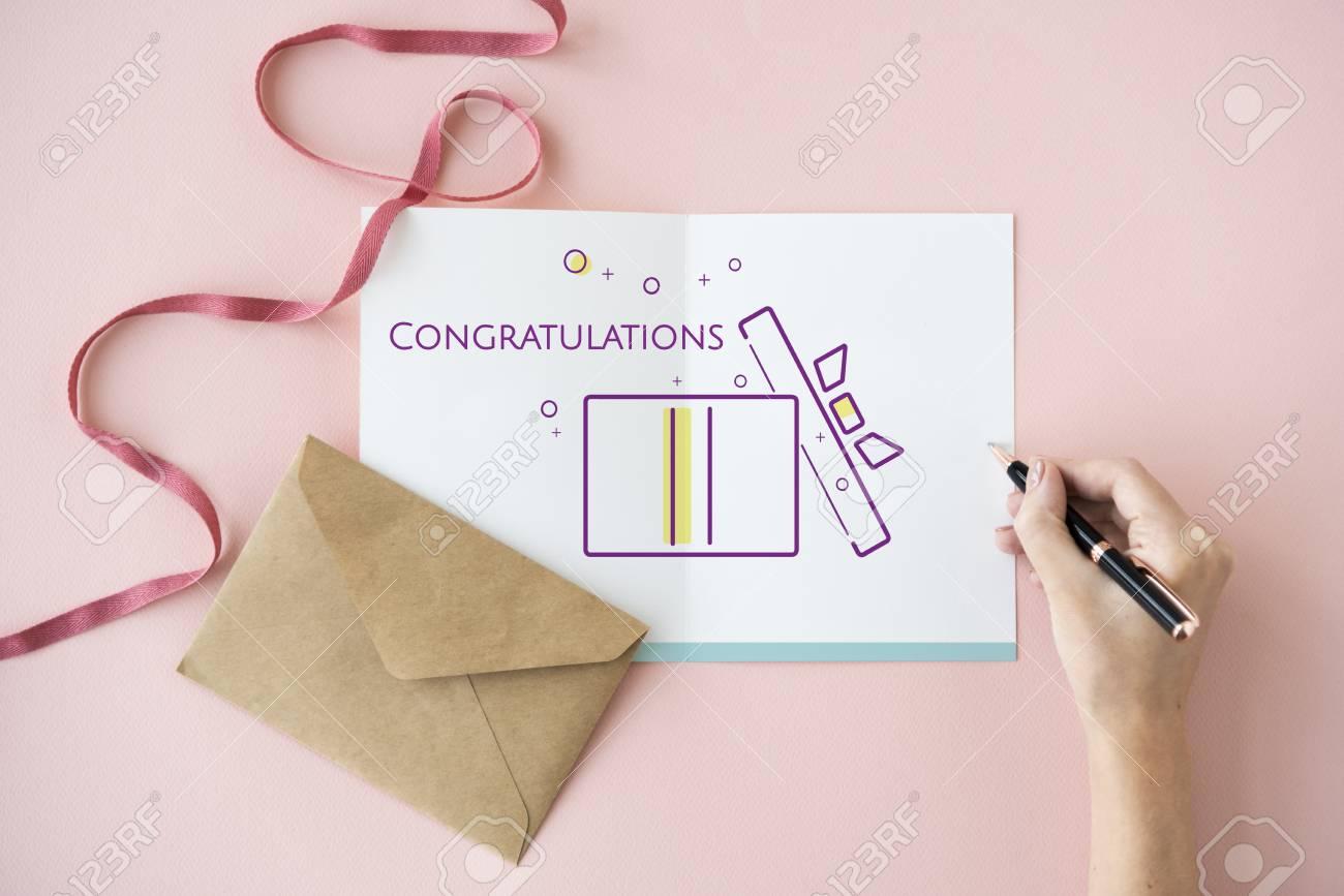 Illustration of happy anniversary gift box present on banner stock