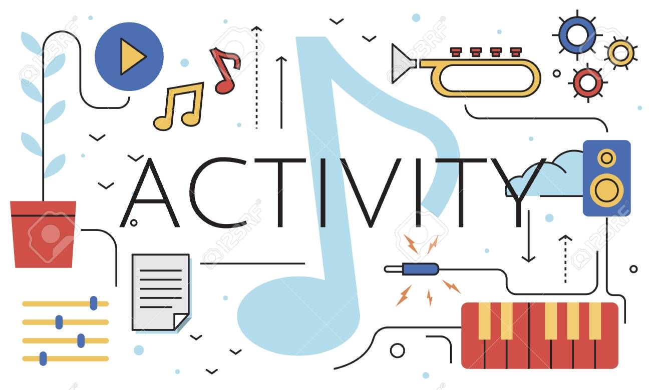 music note leisure hobby activity pastime word graphic stock photo 82941318