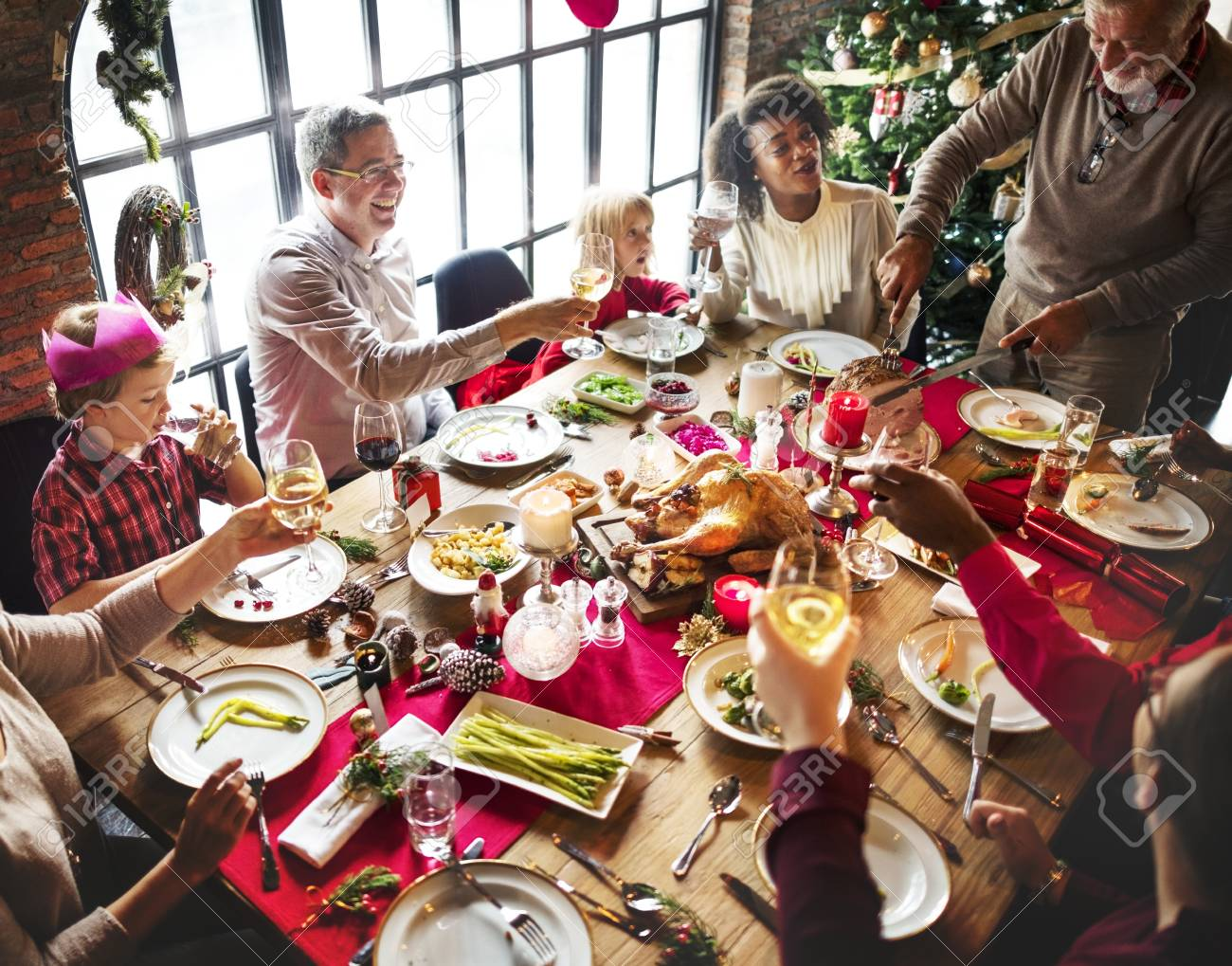 Group of diverse people are gathering for christmas holiday - 89602906