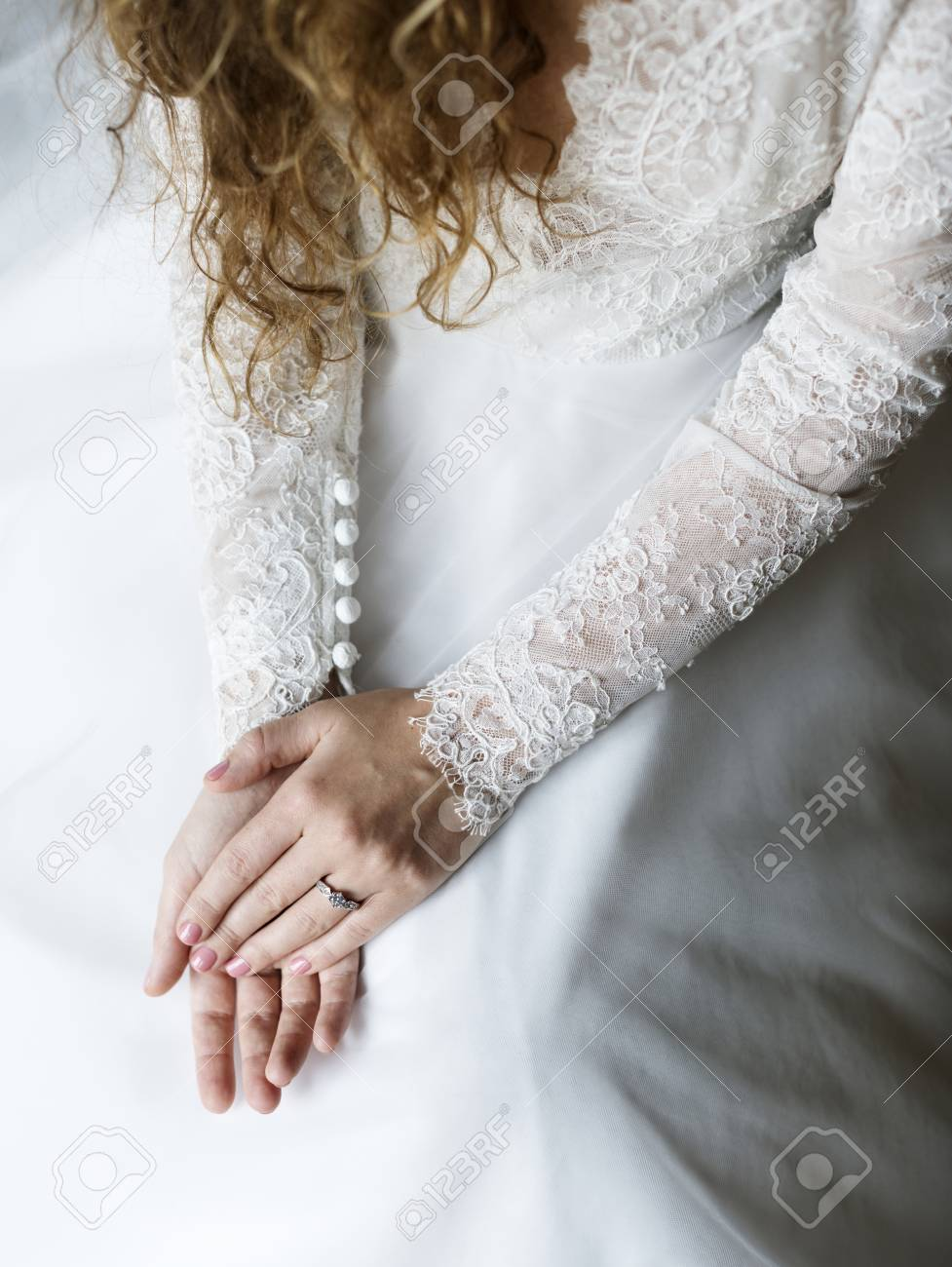Attractive Beautiful Bride Showing Engagement Wedding Ring On