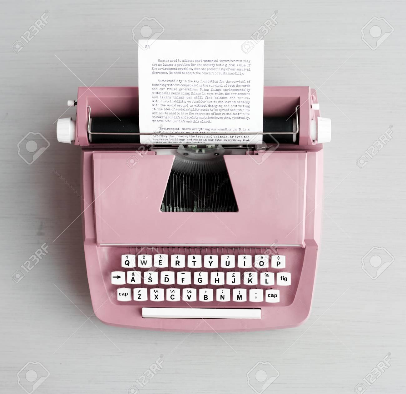 Retro pastel typewriter on grey surface - 90813725