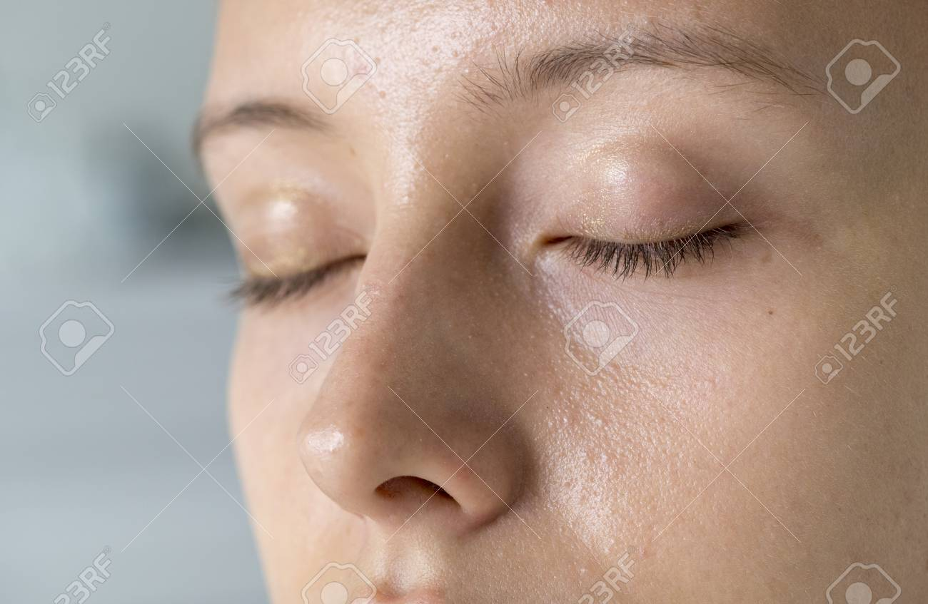 Closeup portrait of white woman eyes closed - 97154204