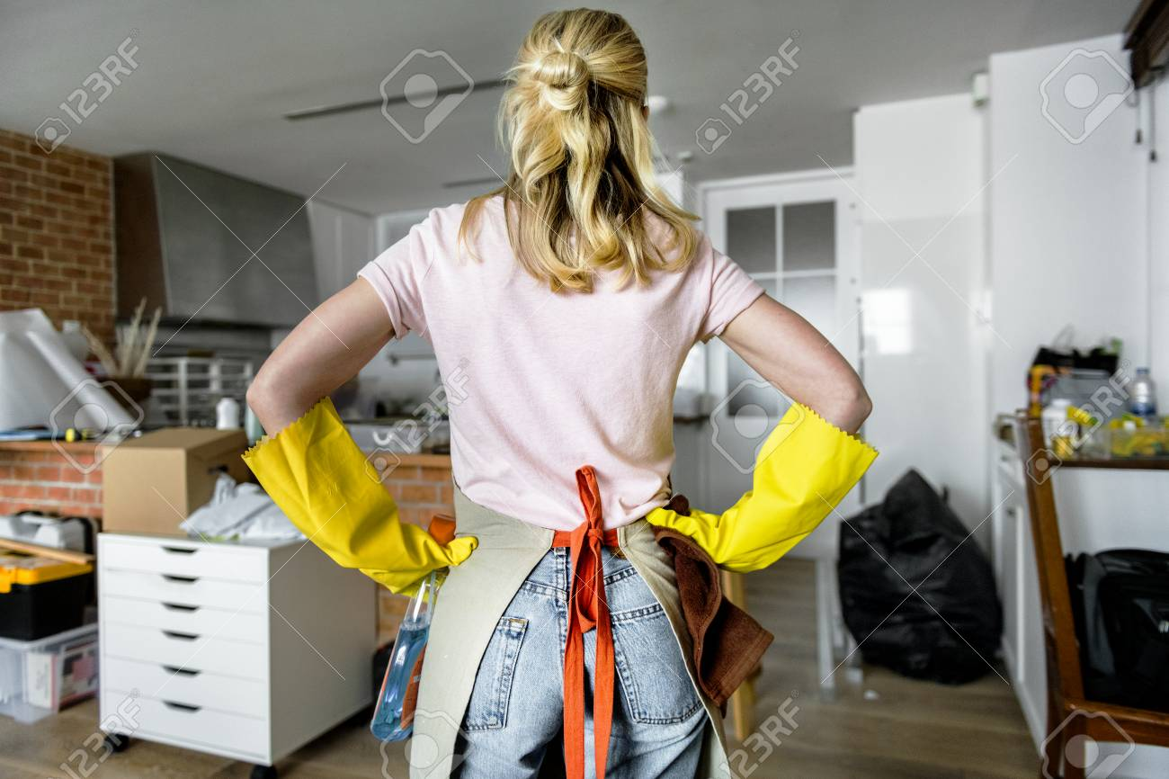 Woman cleaning the house - 97631561