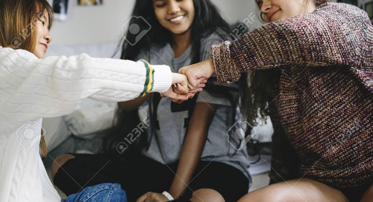 Teen girls fist