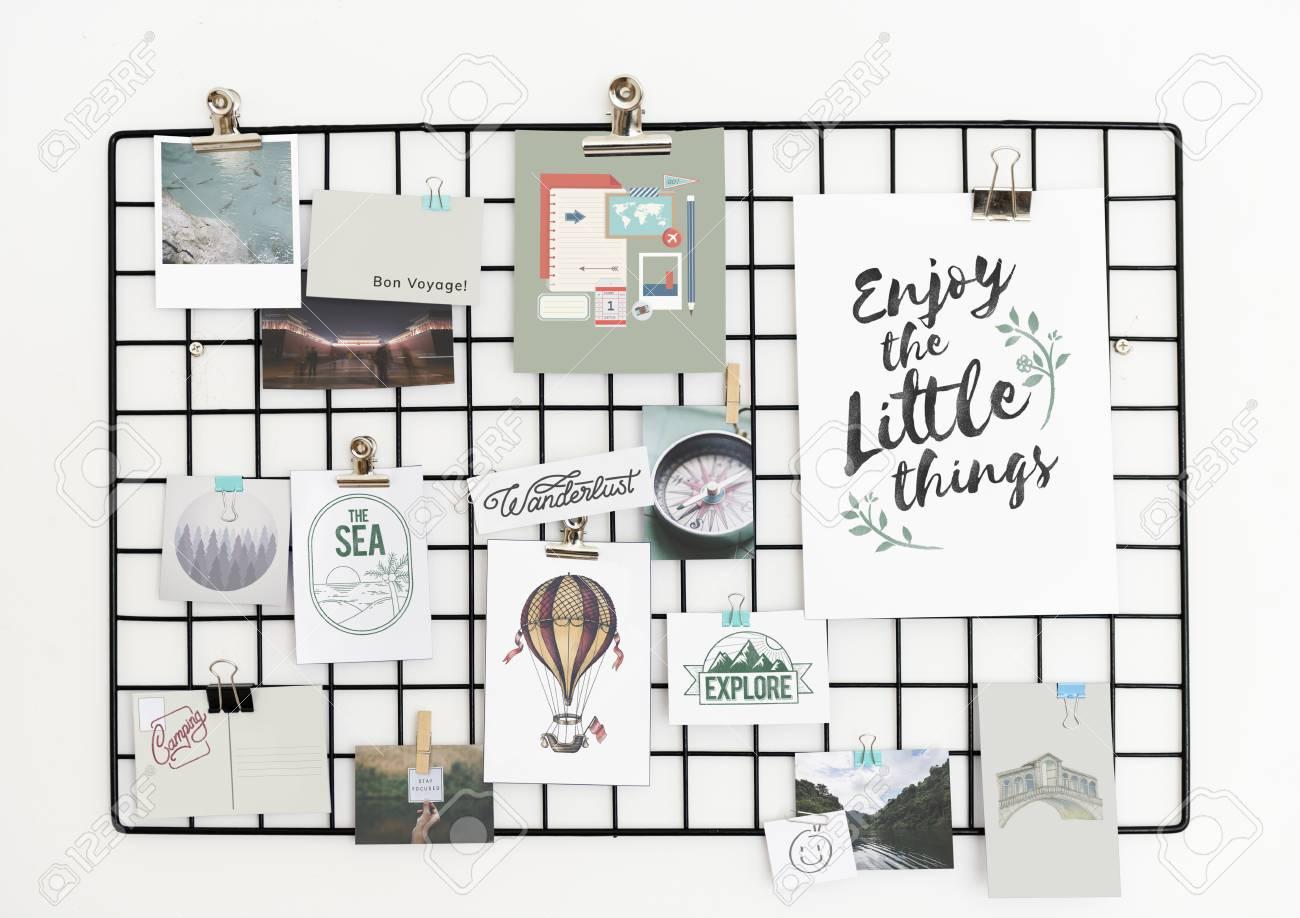 Travel and lifestyle postcard set on a rack - 104049152