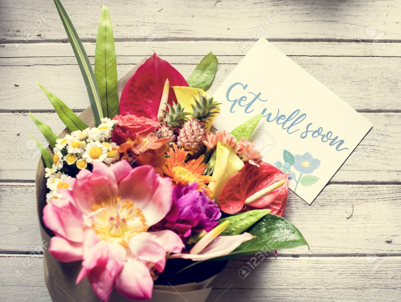 Get Well Soon Message With Bouquet Stock Photo, Picture And Royalty ...
