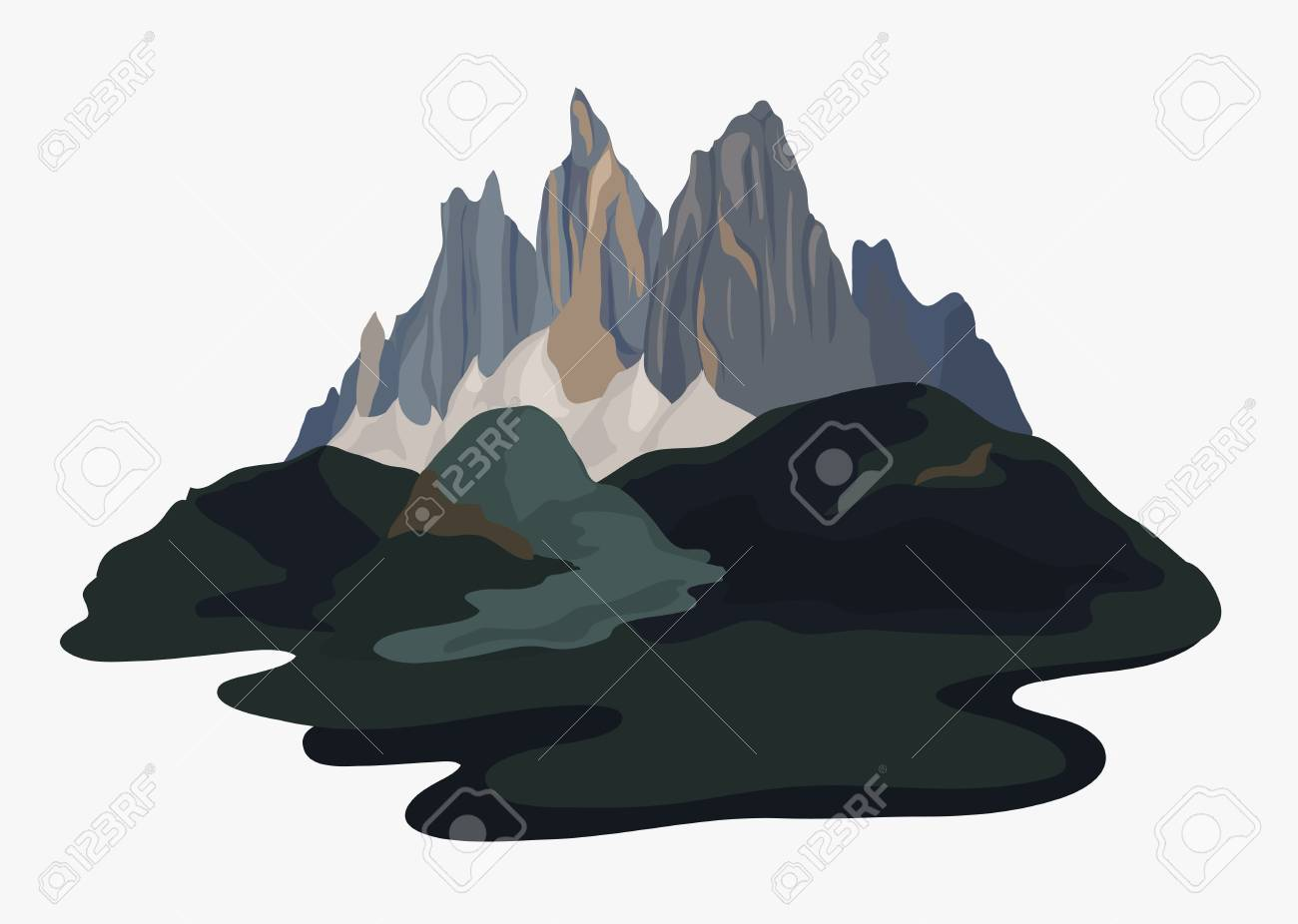 Painted mountain view landscape illustration - 105390849