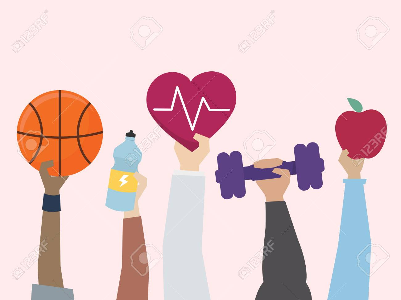 Illustration of exercise and healthy lifestyle concept - 109643847