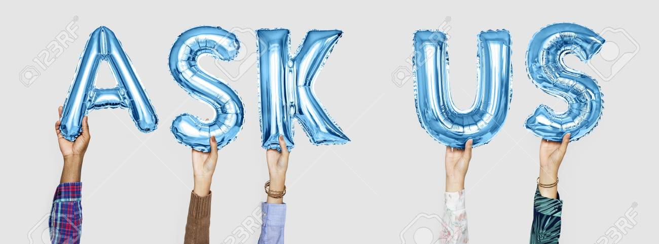 Hands holding ask us word in balloon letters - 112173365