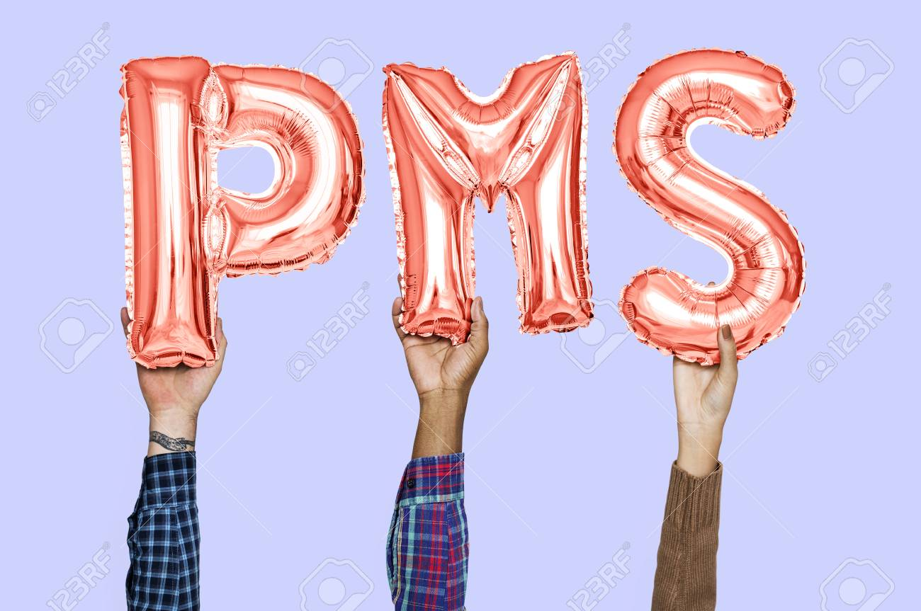 Hands holding PMS word in balloon letters - 112893360