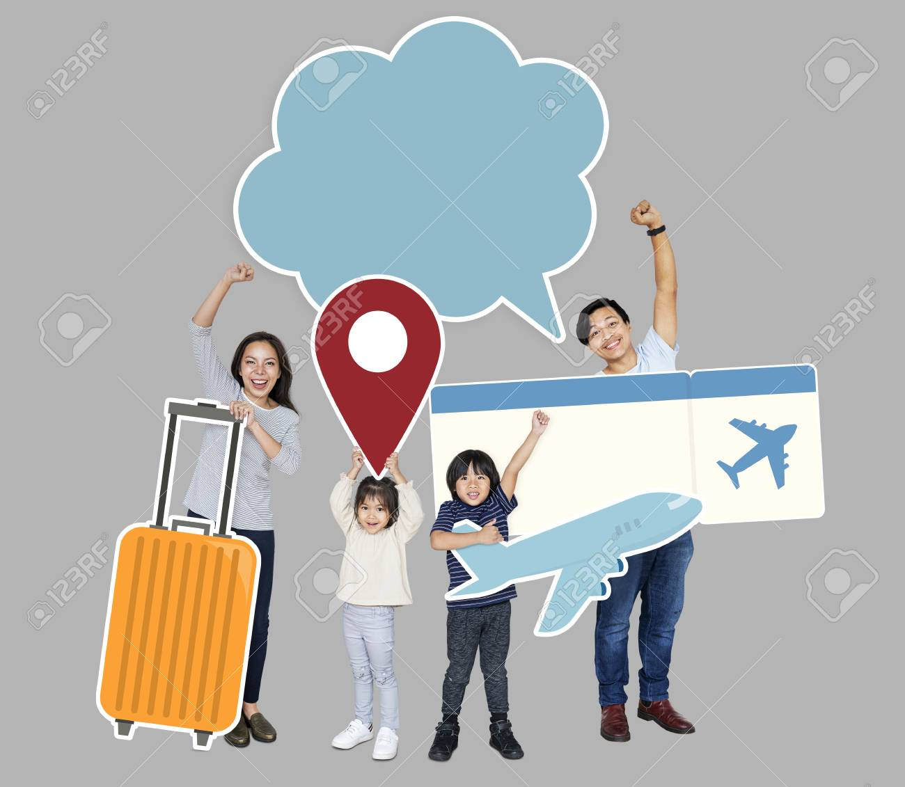 Cheerful family holding travel icons and ticket - 112893624