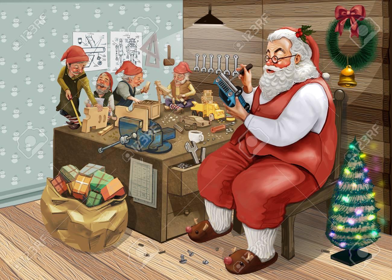 Making Christmas.Hand Drawn Santa Claus Making Christmas Presents With His Elves