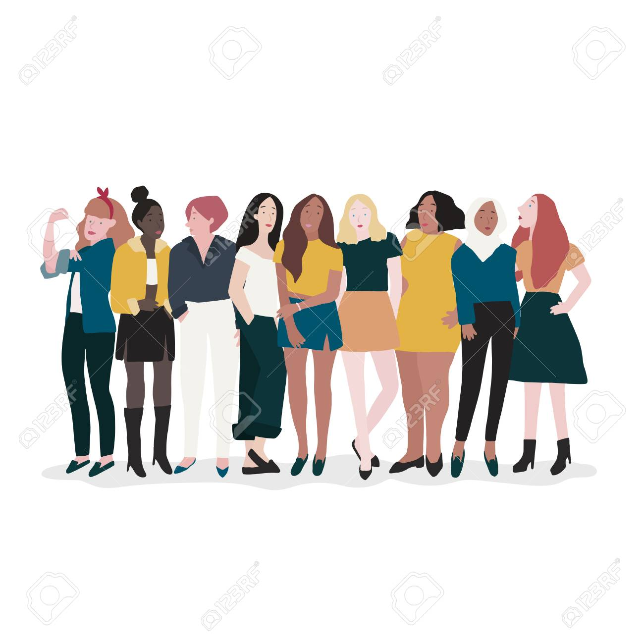 Group of strong women vector - 126453016